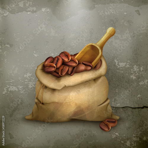 Bag of coffee old style vector