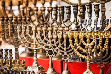 Menorah for sale in shop in the Jerusalem old city market.