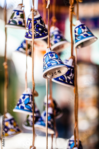 Ceramic bells as souvenir from Jerusalem, Israel.