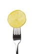 Zitronenscheibe auf Gabel