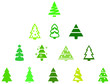 set of green fir trees