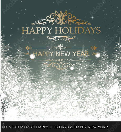eps Vector image:HAPPY HOLIDAYS & HAPPY NEW YEAR
