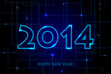 Vector 2014 Happy New Year Circuit Board backgroun