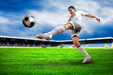 Fototapety Happiness football player after goal on the field of stadium wit