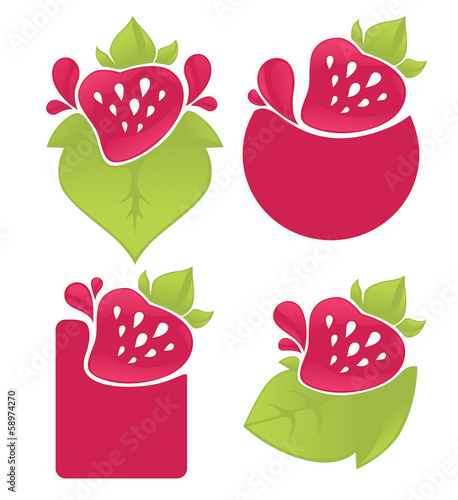 juice stickers and strawberry symbols for your text