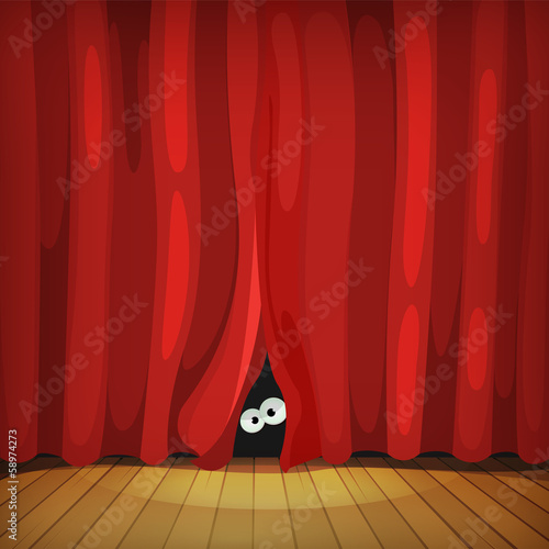 Eyes Behind Red Curtains On Wood Stage - 58974273