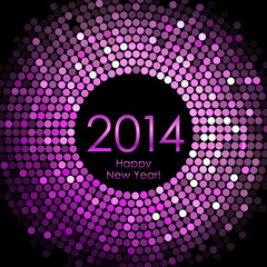 Vector - Happy New Year 2014 - purple disco lights background