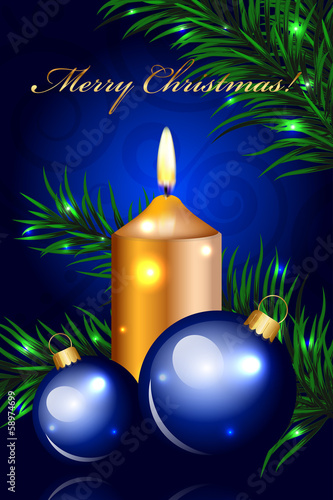 Vector blue Christmas background with gold candle