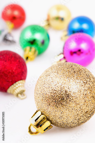 Christmas colored balls isolated on white background