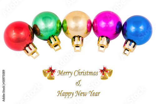 Christmas colored balls, on white background