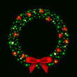 Vector illustration of christmas wreath from lights with bow