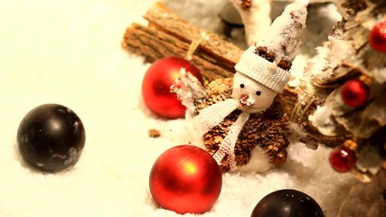 Small snowman and Christmas tree.