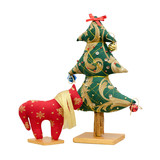 Handmade soft toy isolated New Year tree and red horse