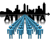 Lines of people with Atlanta skyline illustration