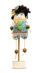 Handmade doll soft toy isolated funny girl on the stand