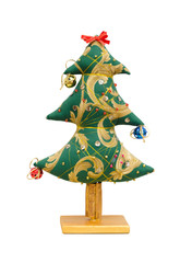 Handmade soft toy isolated New Year tree