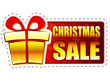 christmas sale and gift box on red banner with snowflakes