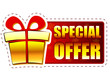 christmas special offer and gift box on red banner with snowflak