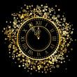 Vector gold New Year Clock