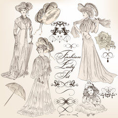 Collection of vector detailed  fashion lady in old-fashioned vin