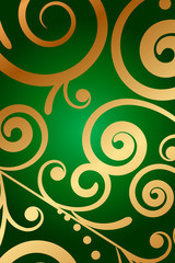 Vector green background with floral ornament