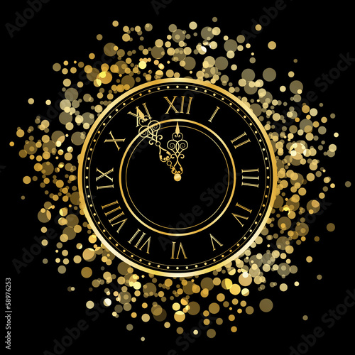 Vector gold New Year Clock