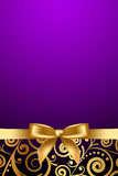 Vector purple and luxury frame with gold ribbon