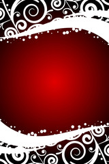 Vector red background with white floral decorations