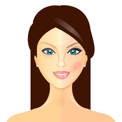 Makeover - Vector illustration of woman before and after makeup