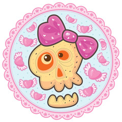 Love skull with pink bow