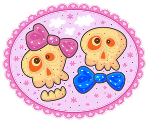 Two enamored skulls with bows with flowers and white clouds