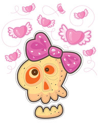 Skull with pink bow and flying pink hearts with wings