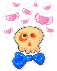 Skull with blue bow and flying pink hearts with wings