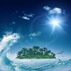 Alone island in ocean, abstract environmental backgrounds