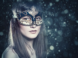 Christmas Party. Carnival female portrait with beauty background