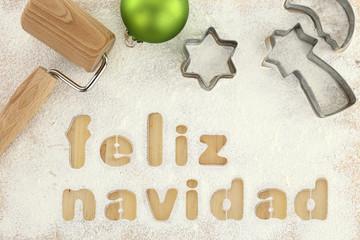 Feliz navidad baking preparation background