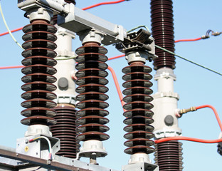 Electrical insulators in a high-voltage power station