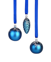 Christmas decoration. Two blue christmas balls and cone hanging