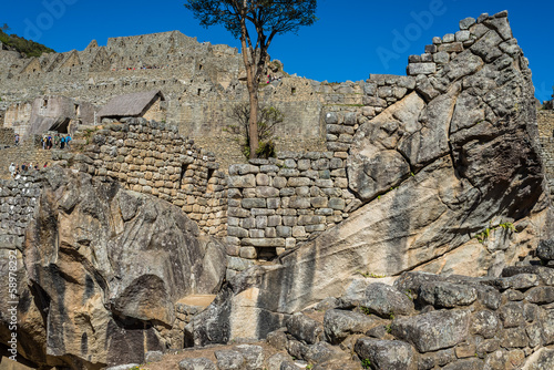 temple of the condor Machu Picchu ruins peruvian Andes  Cuzco Pe