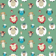Seamless pattern of cartoon funny sheeps