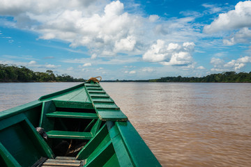 boat in the river in the peruvian Amazon jungle at Madre de Dios