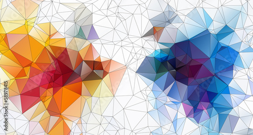 orange blue abstract geometric background  stained-glass window