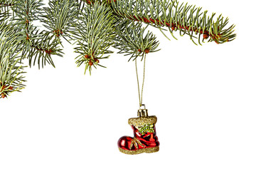 Christmas decorations. Red Santa's boot, Christmas tree isolated