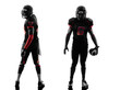 two american football players posing silhouette