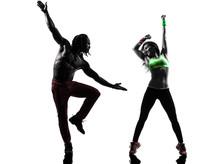 couple homme et femme dans l'exercice de fitness zumba danse silhouette