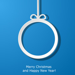 Modern Xmas greeting card with paper Christmas ball