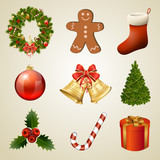 Christmas design elements and icons. Xmas decorations set