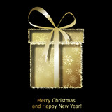 Modern Xmas greeting card with golden Christmas gift box