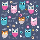 Fototapety cute and funny owl pattern with buttons vector illustration