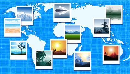 World map with photos of different geographic locations